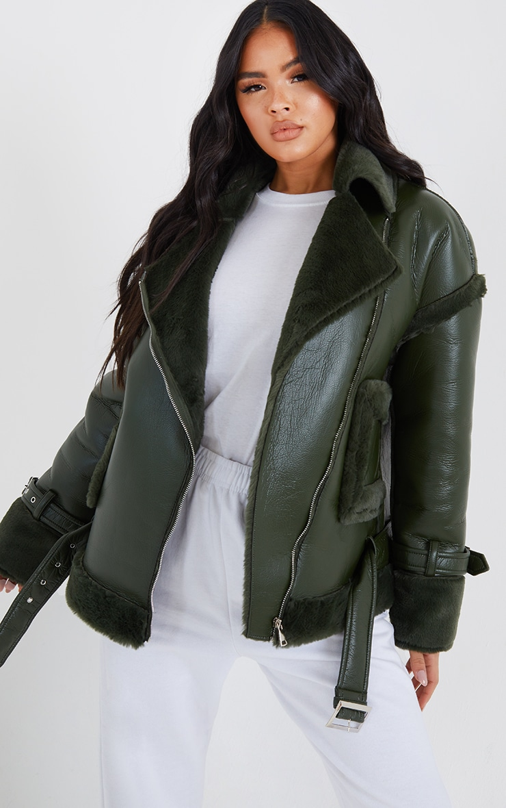 Khaki PU Outer Pocket Belted Oversized Faux Fur Lined Aviator 1