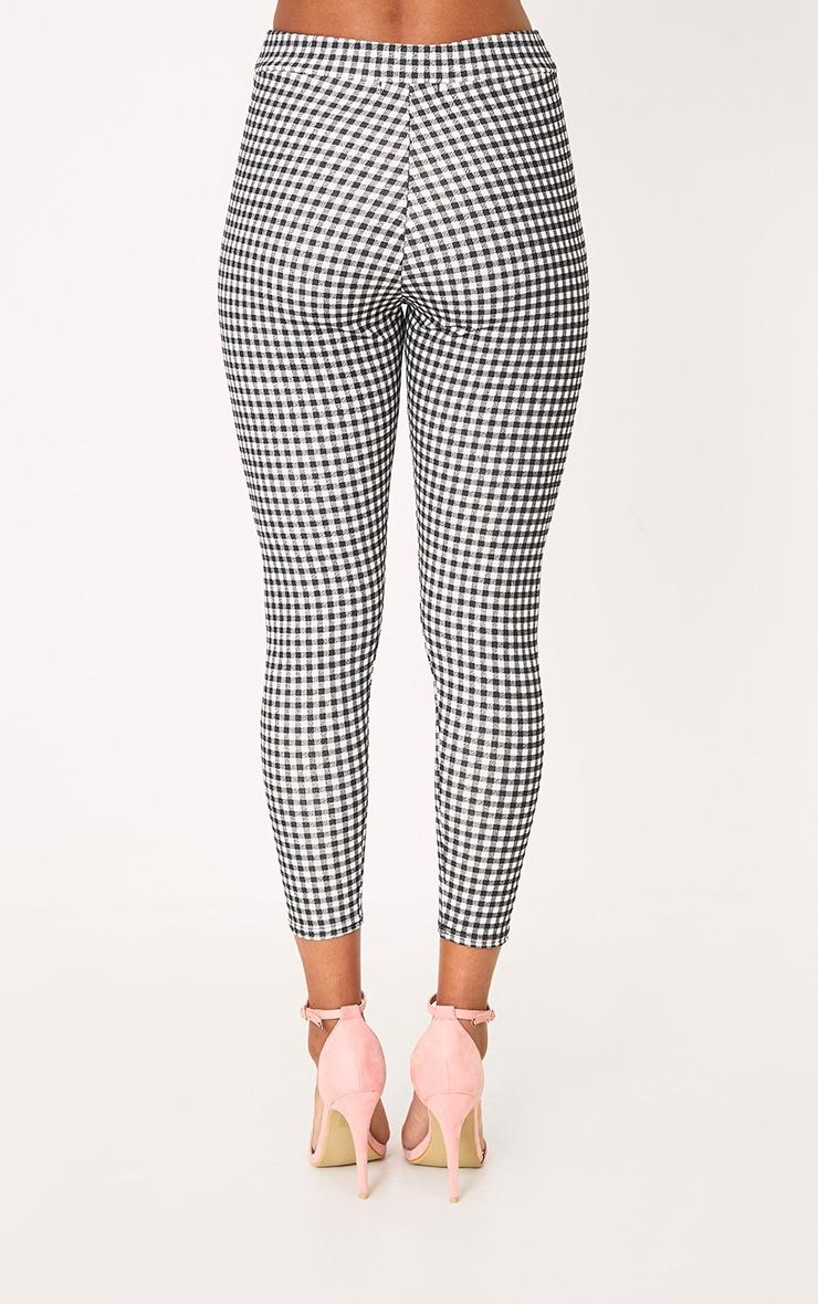 Black Gingham Applique Skinny Trousers 4
