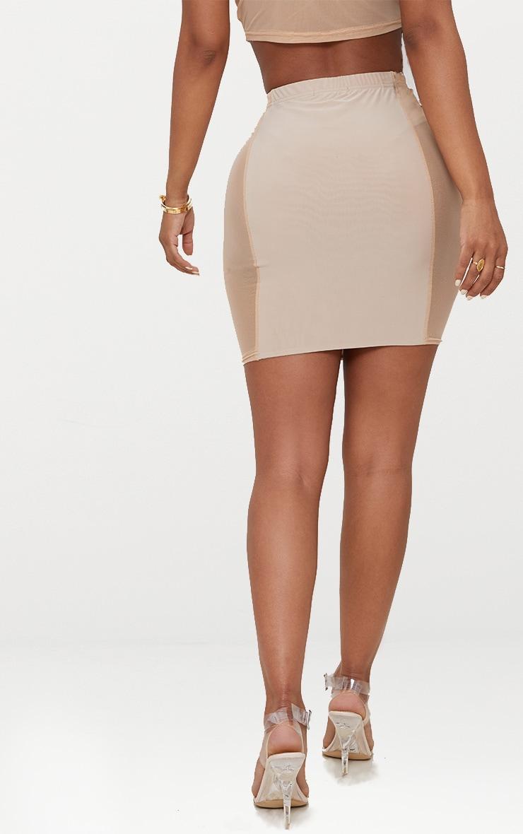 Shape Nude Mesh Panel Bodycon Skirt 3
