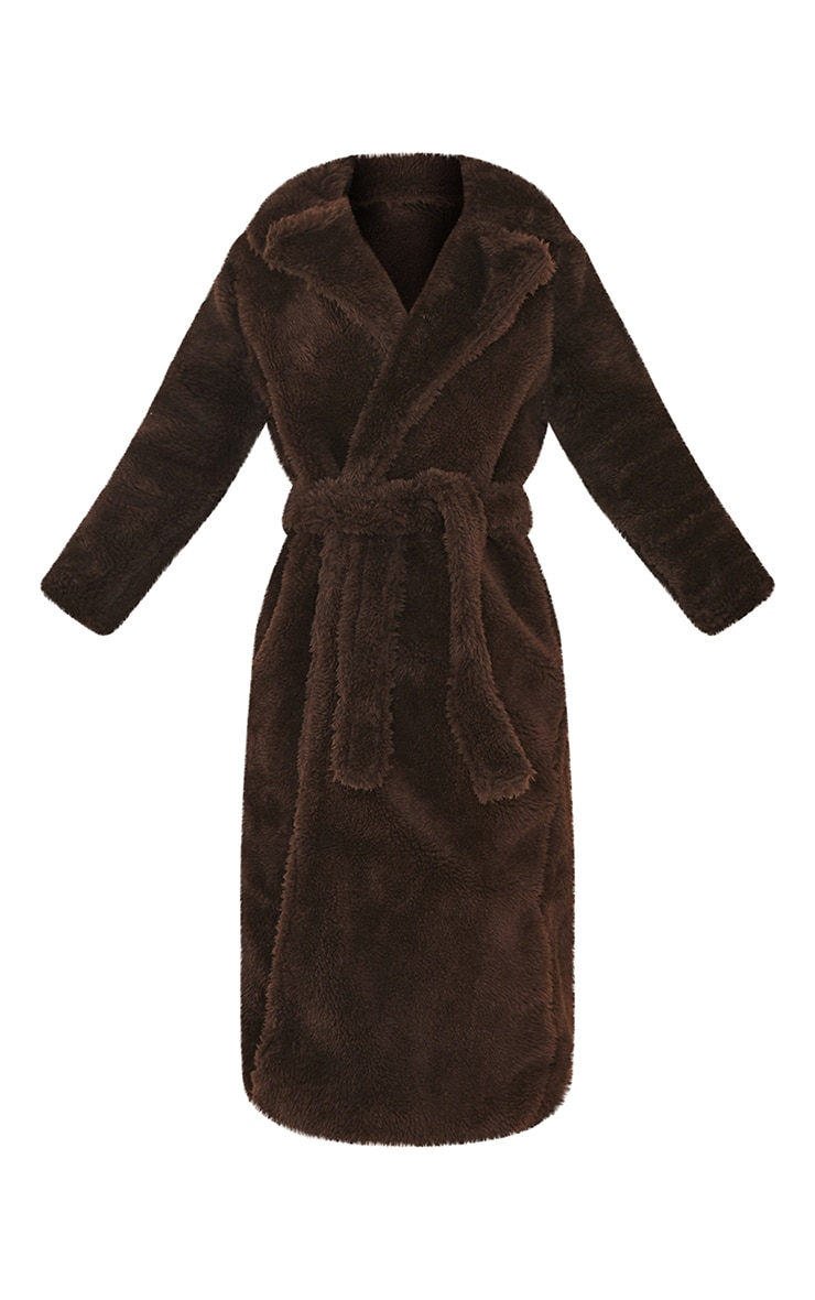 Brown Long Teddy Faux Fur Belted Coat 5