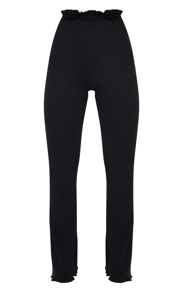 Black Rib Wide Leg Frill Detail Pants 5