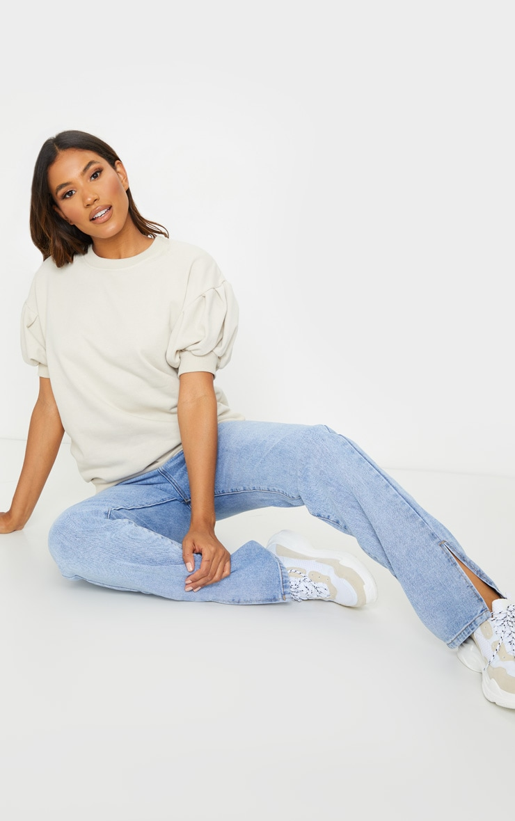 Oatmeal Pleated Short Sleeve Sweatshirt 3