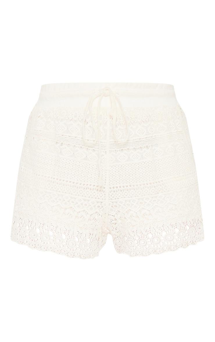 Cream Crochet Drawstring Waist Short  3