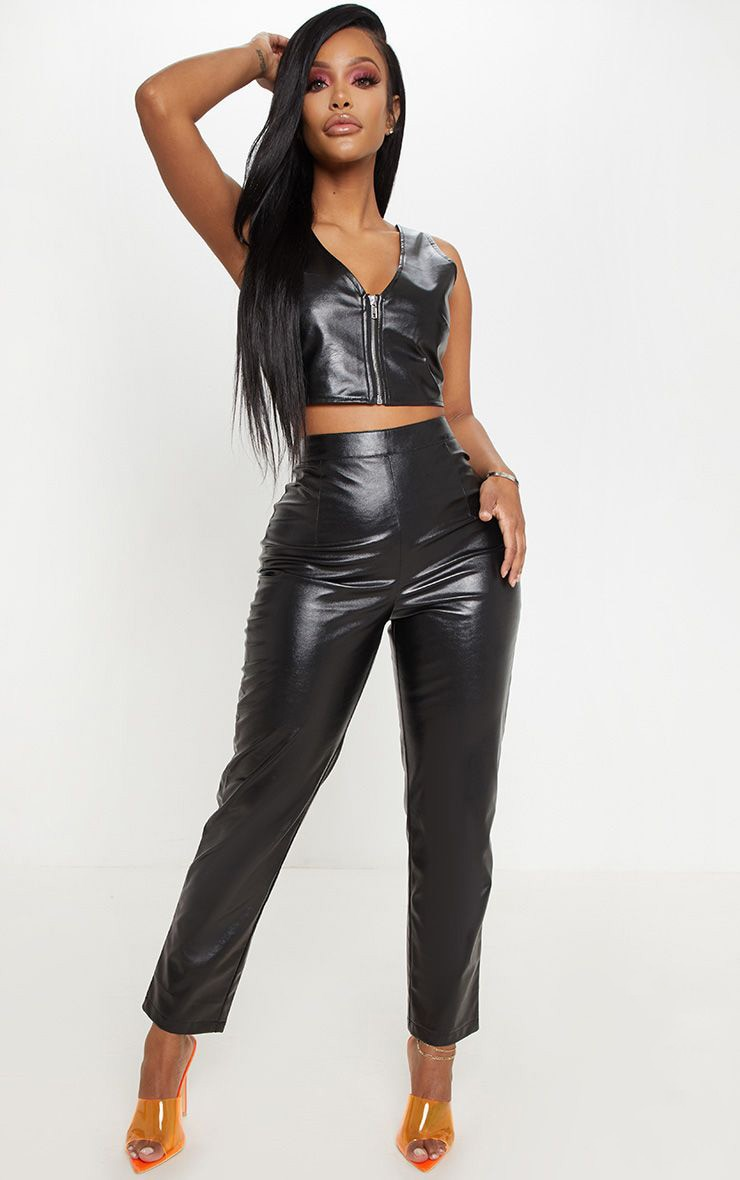 Shape Black Faux Leather Straight Leg Trouser  1