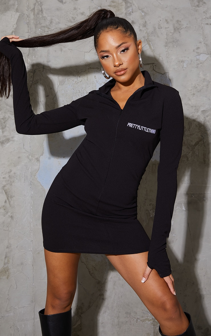 PRETTYLITTLETHING Black Contrast Zip High Neck Bodycon Dress 1
