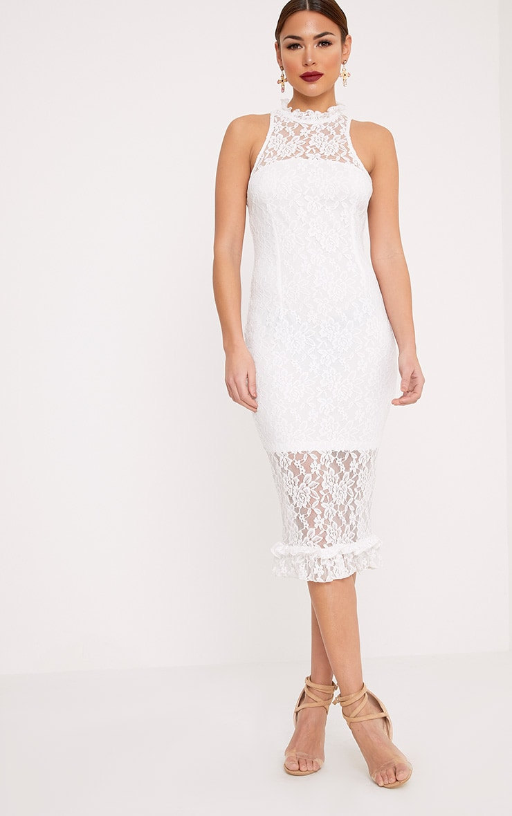 Helen White Lace Frill Neck Midi Dress 4