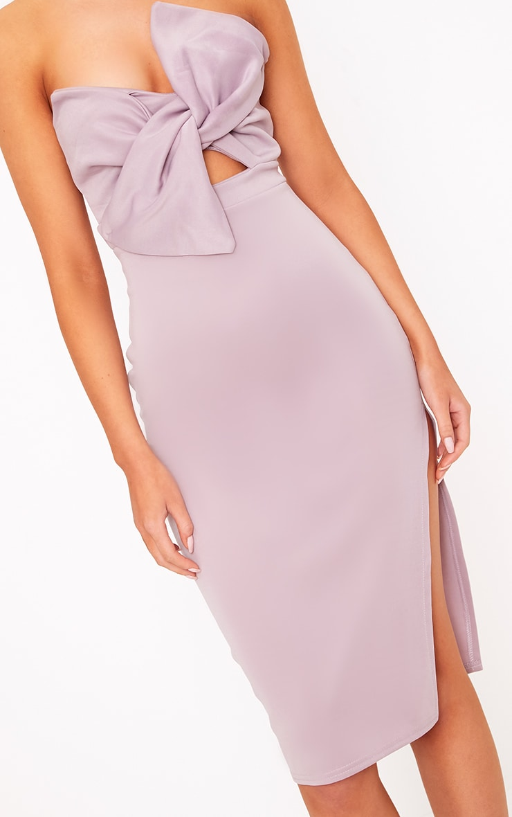 Elisse Mauve Bow Detail Scuba Midi Dress 3