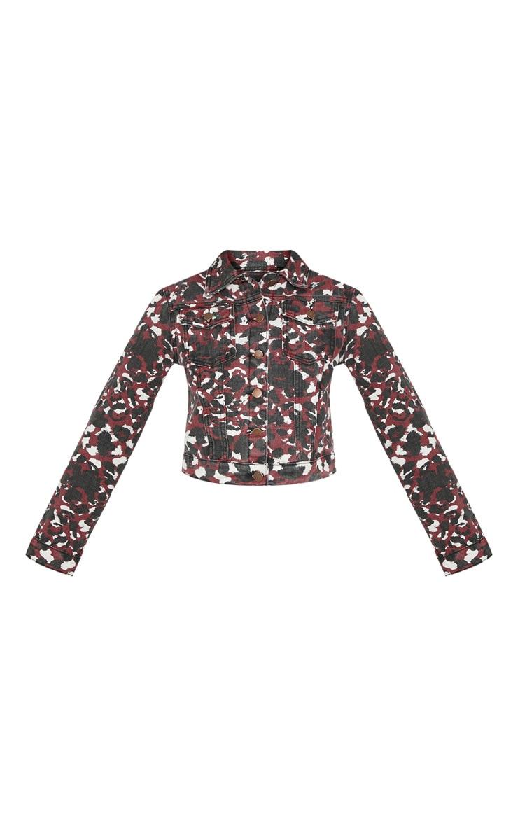 Burgundy Blurred Leopard Cropped Denim Jacket 3