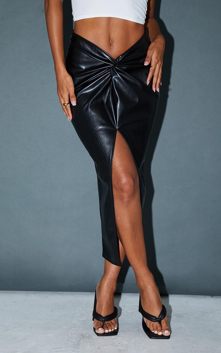 Black Faux Leather Twist Detail Front Midi Skirt 2