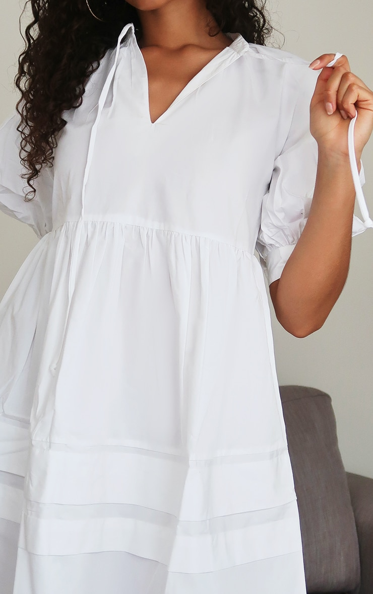 White Woven Tie Front Smock Dress 4