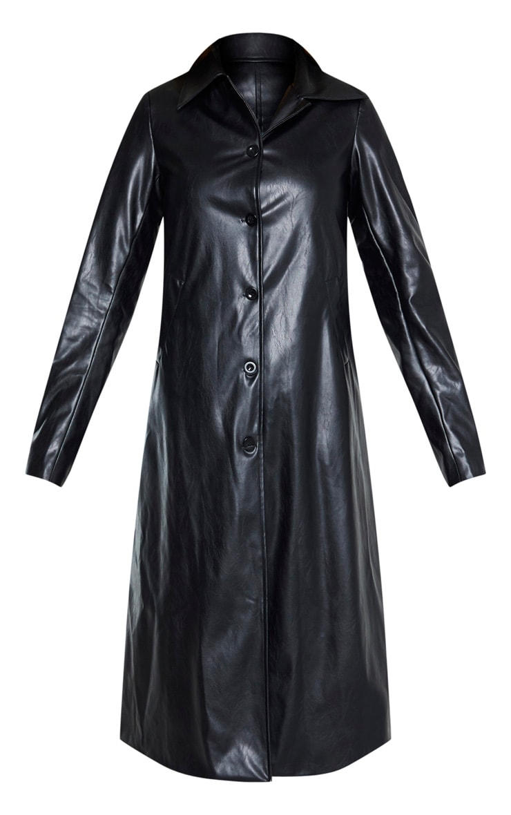 Tall Black PU Longline Trench 3