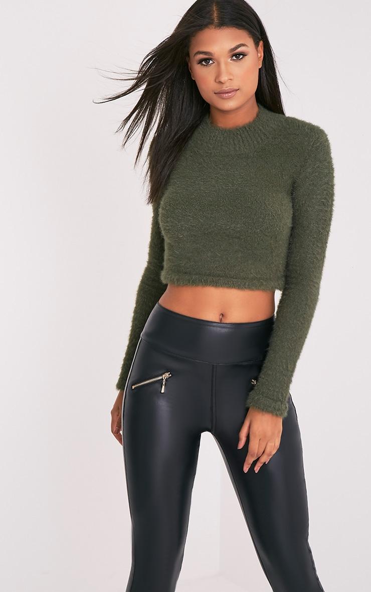 Ralda pull court manches longues duveteux tricoté kaki 1
