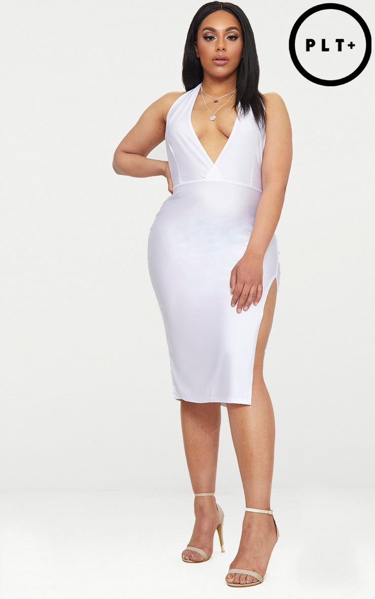 Plus White Disco Slinky Halterneck Midi Dress 1
