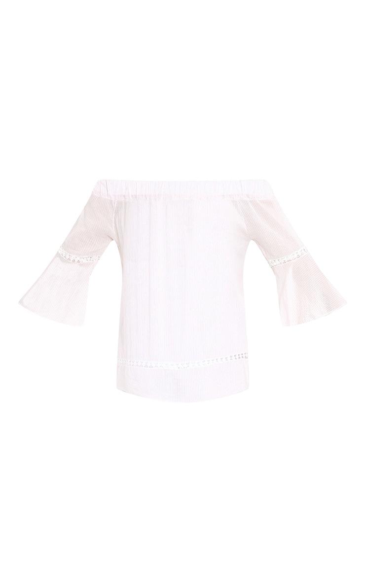 Althea Pink Stripe Bardot Crochet Detail Shirt 3