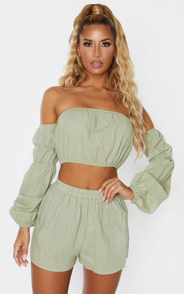 Pale Khaki Linen Look Bardot Puff Sleeve Beach Top 1