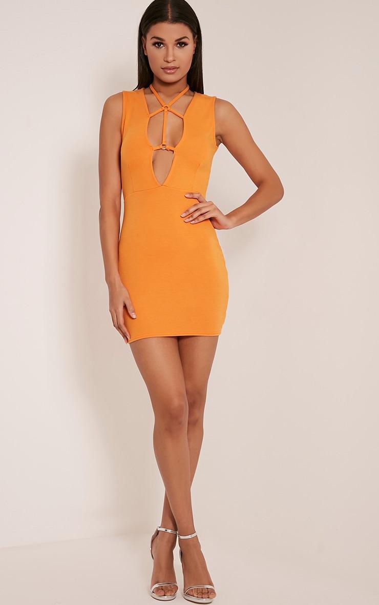 Raynie Orange Sleeveless Harness Bodycon Dress 6