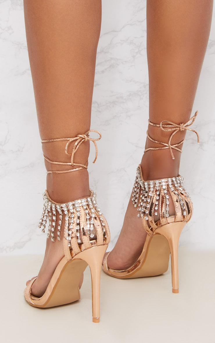 Rose Gold Diamante Heel Sandals 4