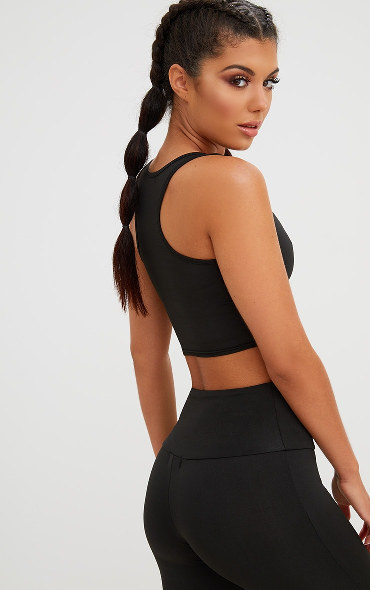 Black Corset Detail Crop Top 3