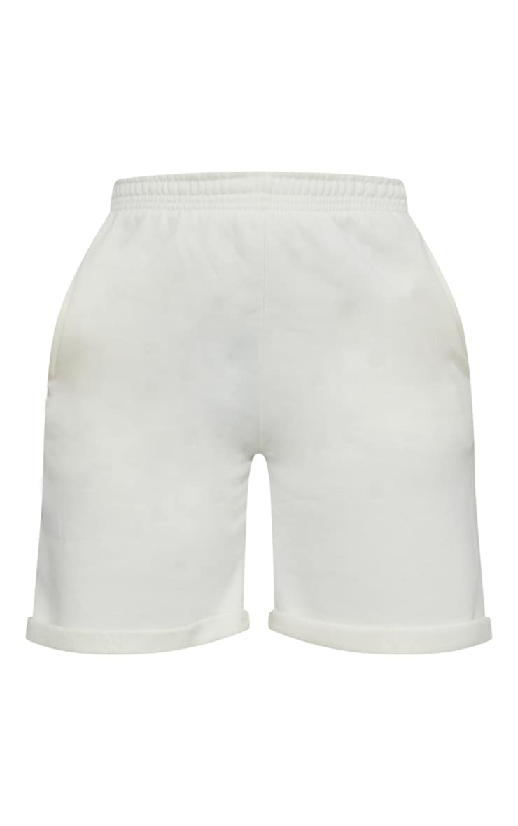 Cream Turn Up Longline Sweat Shorts 6