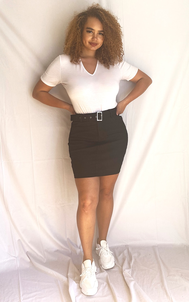 Plus Washed Black Disco Belted Denim Mini Skirt 4