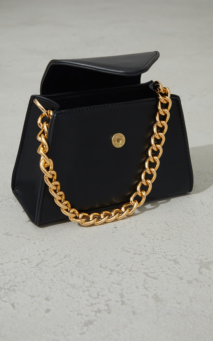 Black Mini Envelope Gold Chain Grab Bag 3