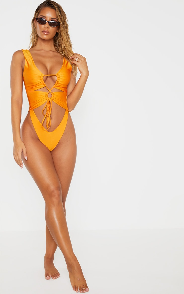 Orange Cut Out Adjustable String Swimsuit 4