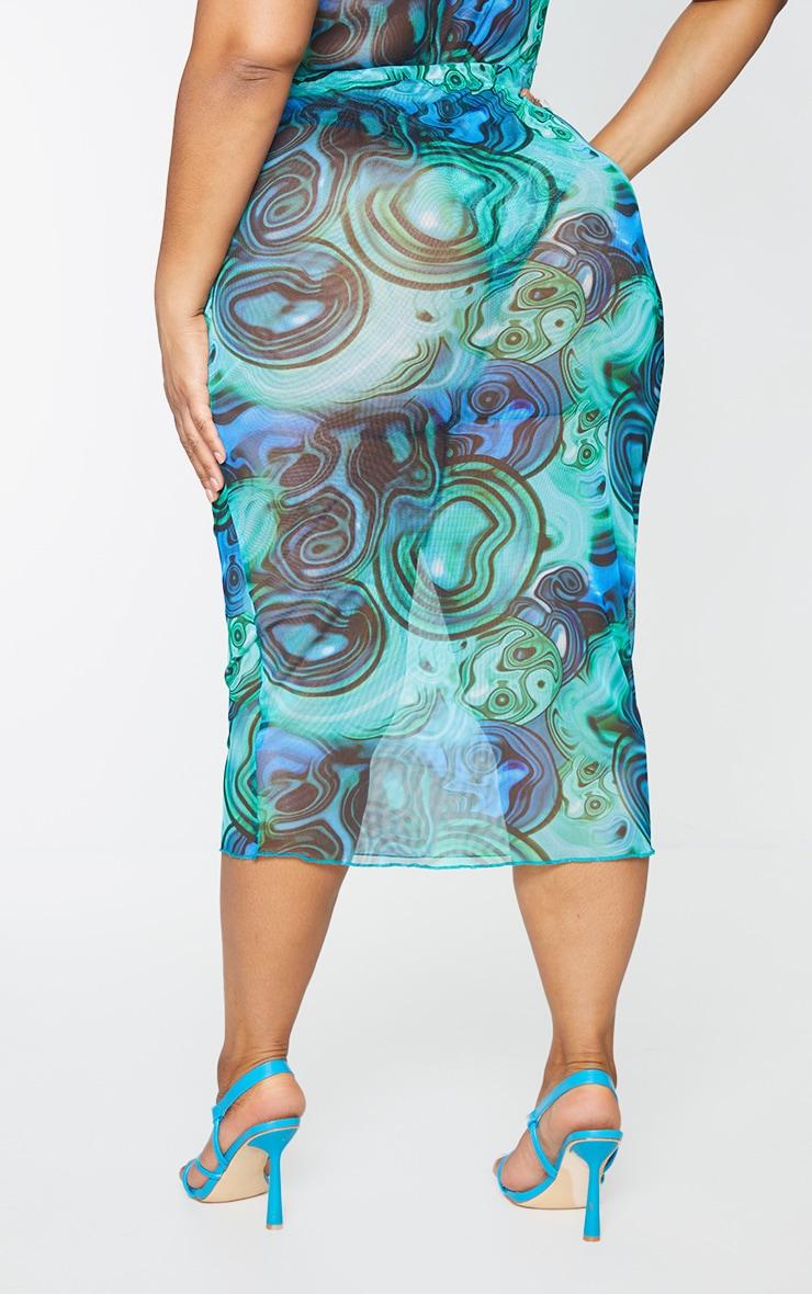 Plus Blue Marble Print Print Mesh Bodycon Midi Skirt 3