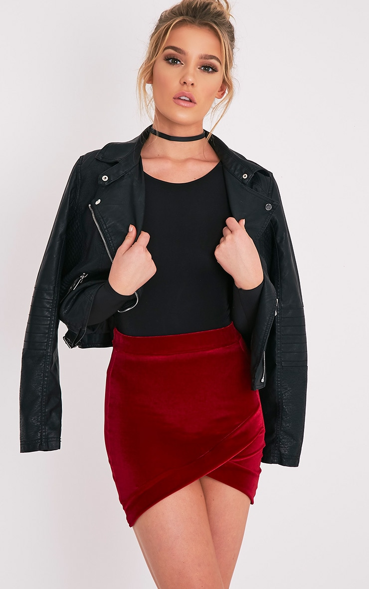 Gabriella Burgundy Velvet Asymmetric Mini Skirt 1