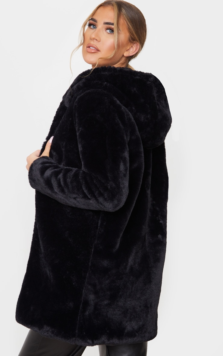 Black Faux Fur Hooded Coat 2