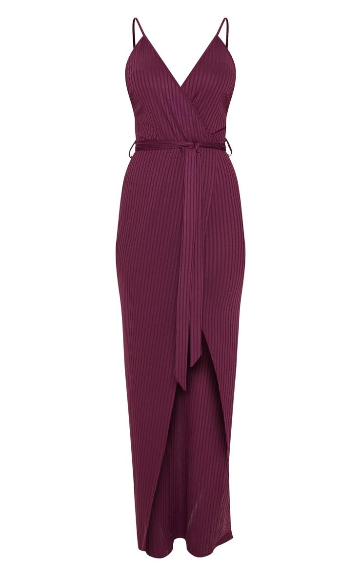 Plum Ribbed Wrap Maxi Dress 4