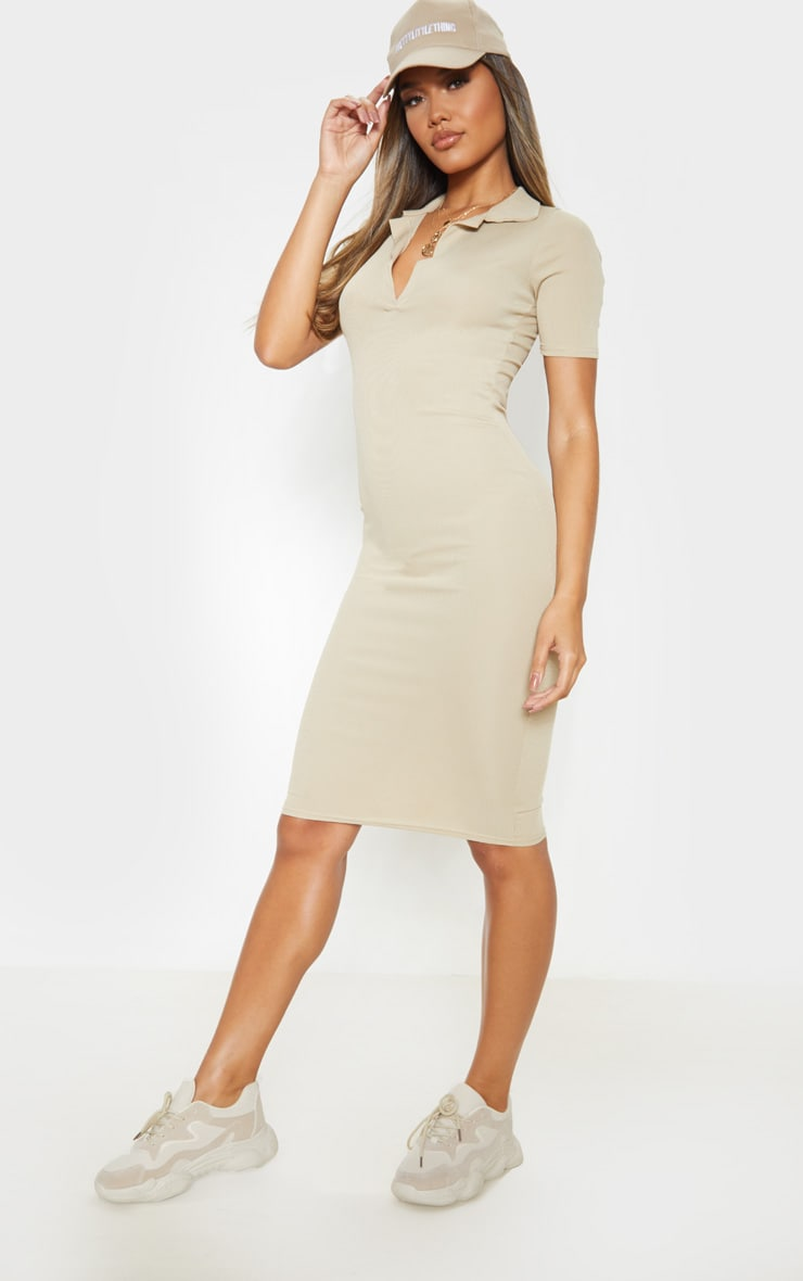 Biscuit Ribbed Midi Polo Dress 4