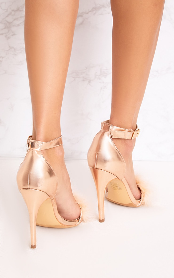 Soraya Nude Feather Strap Heels 4