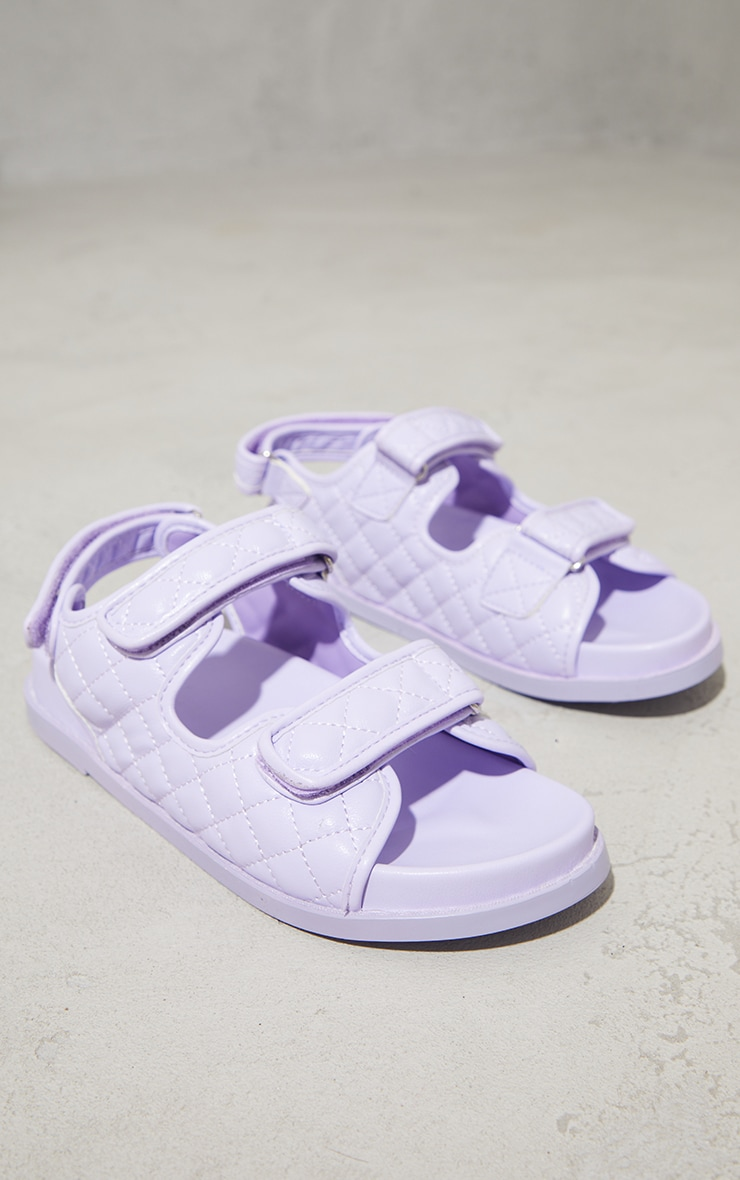 Lilac PU Quilted Velcro Strap Footbed Sandals 3