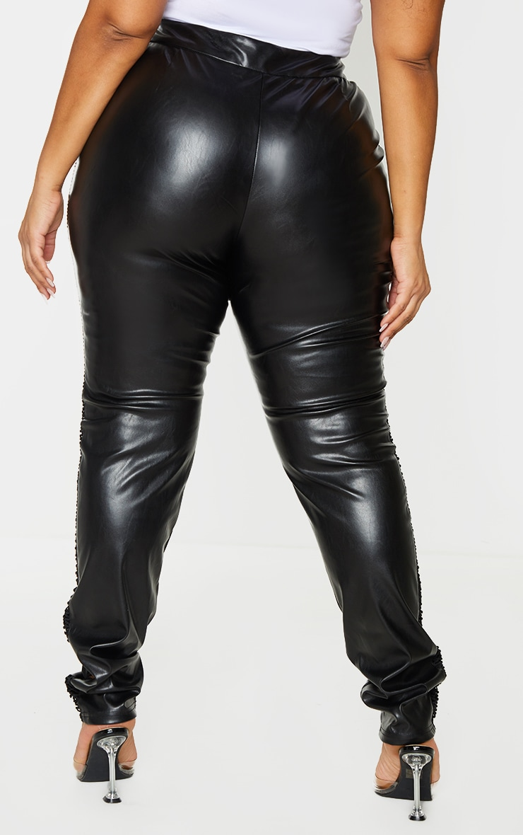 Plus Black PU Lace Up Detail Pant 3