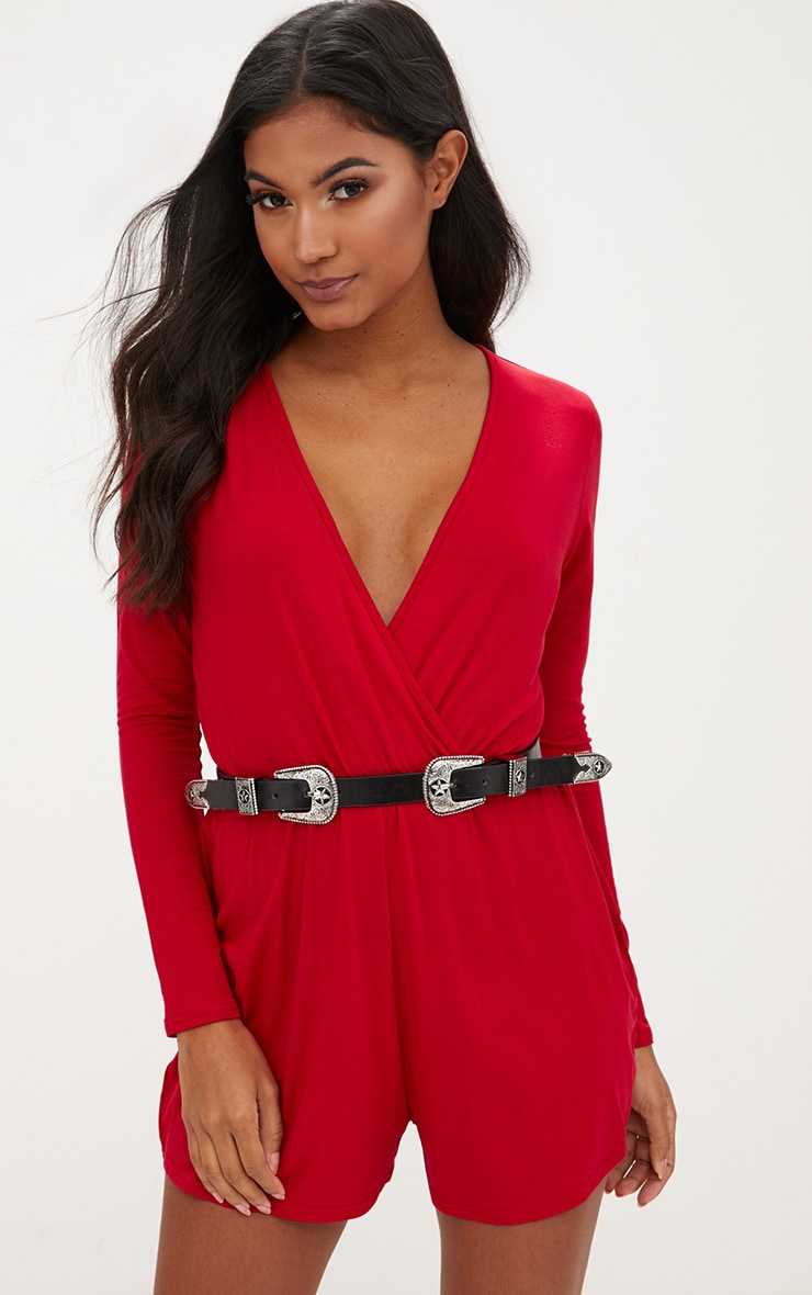 Basic Red Long Sleeve Wrap Playsuit 4
