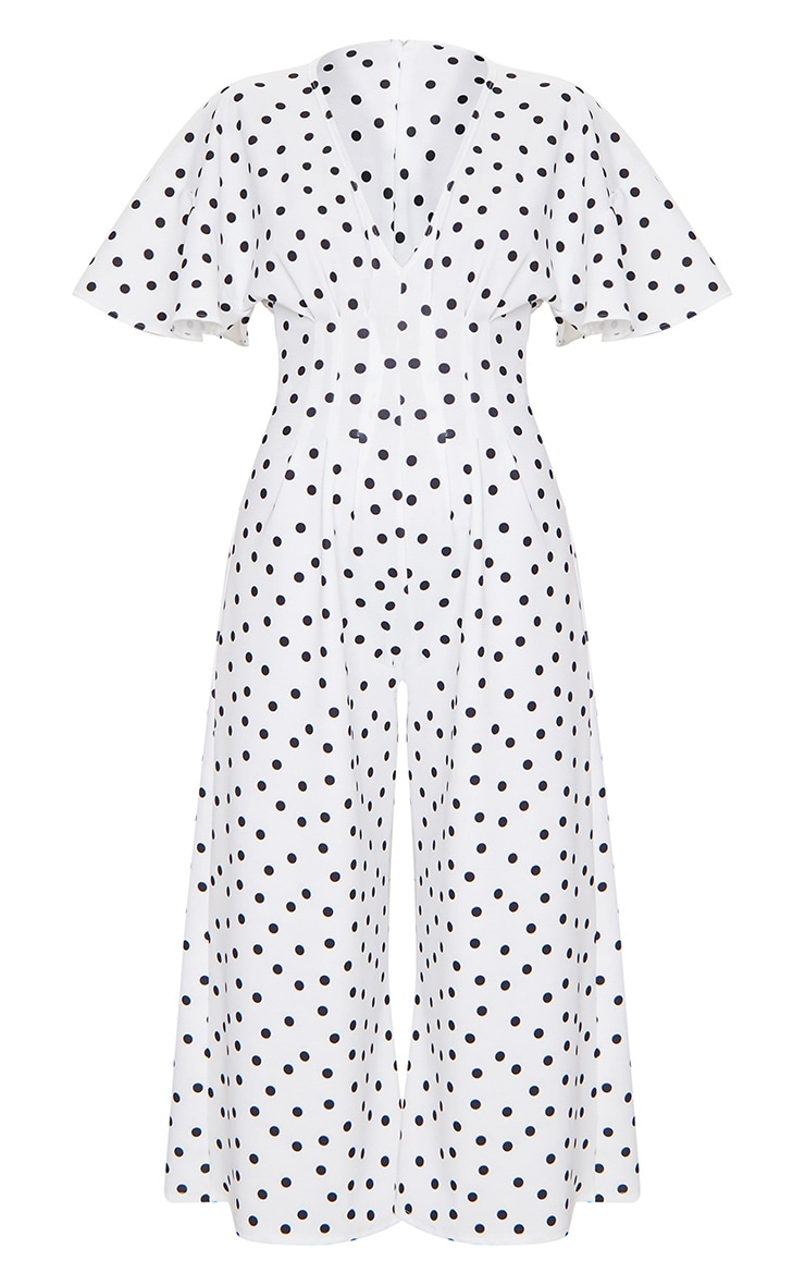White Polka Dot Pleated Waist Plunge Culotte Jumpsuit 5