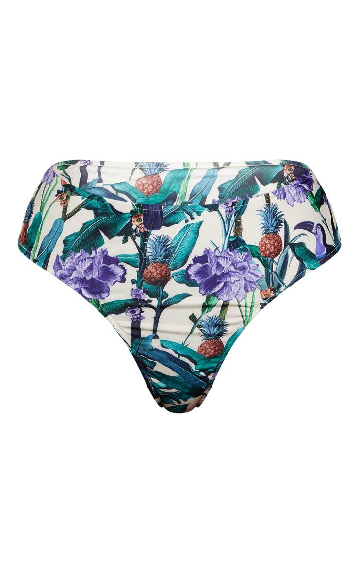 Cream Toucan Tropical High Waist High Leg Bikini Bottom 6