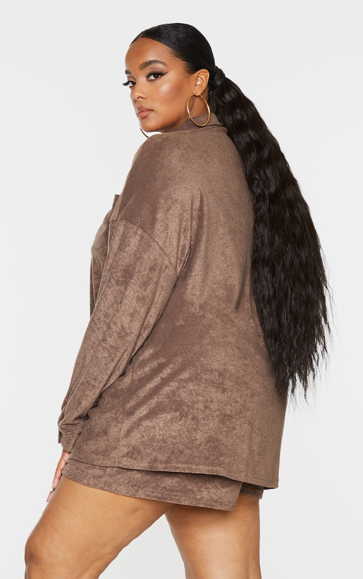 Plus Brown Towelling Oversized Shirt 2