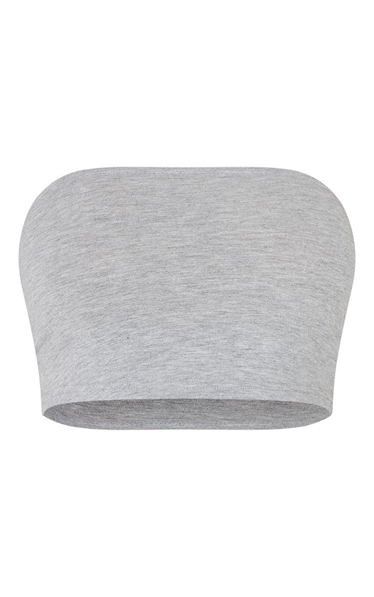 Basic Grey Marl Cotton Blend Bandeau Crop Top 5