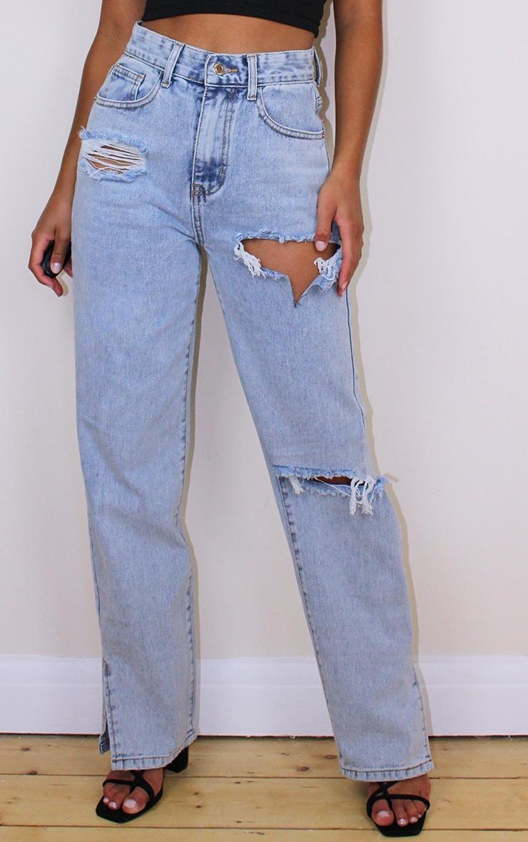 Petite Bleach Wash Distressed Split Hem Jeans 2