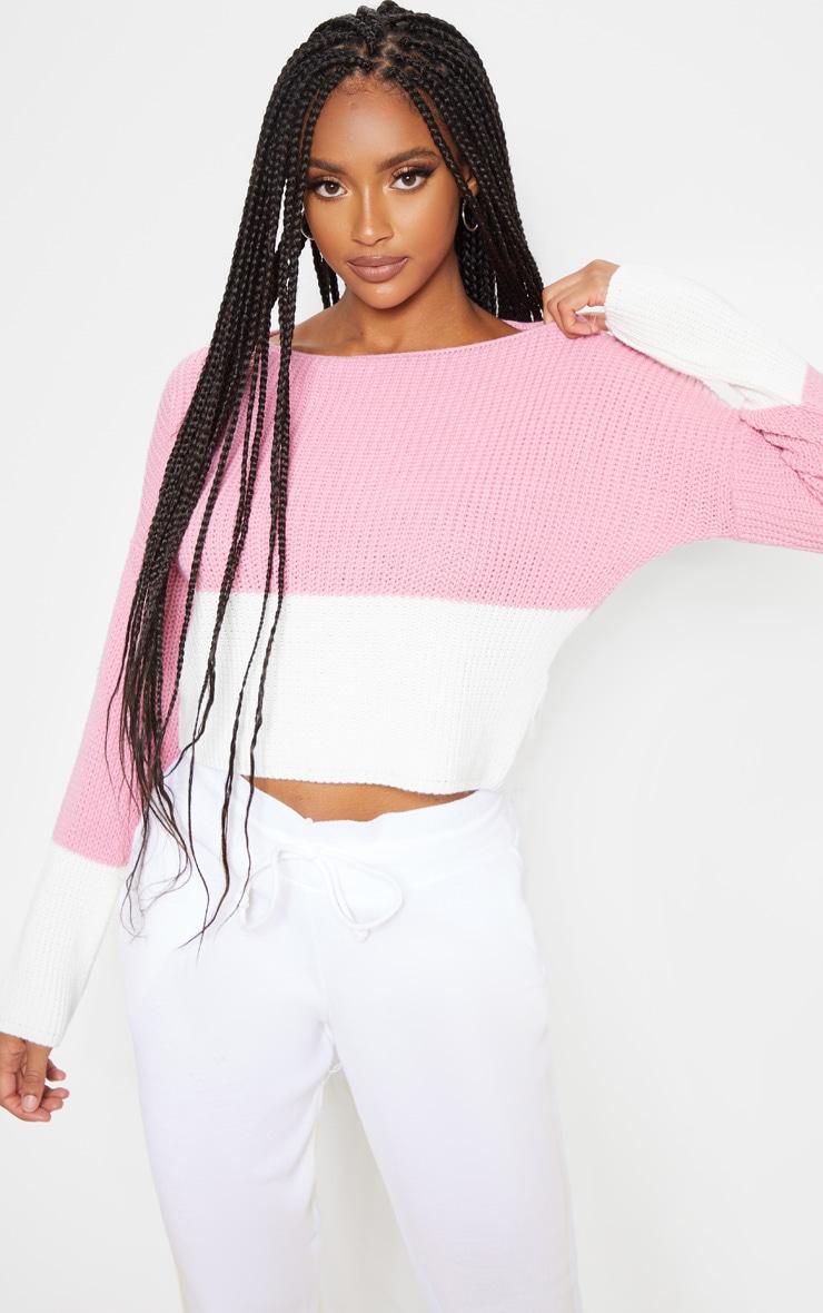 Rose Colour Block Sweater 1