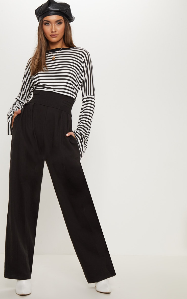 Black Ruched Waist Sweat Trouser 1