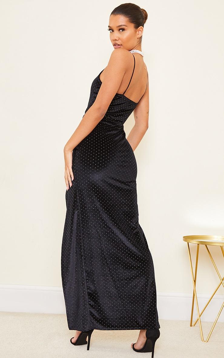 Black Studded Velvet Strappy Maxi Dress 2