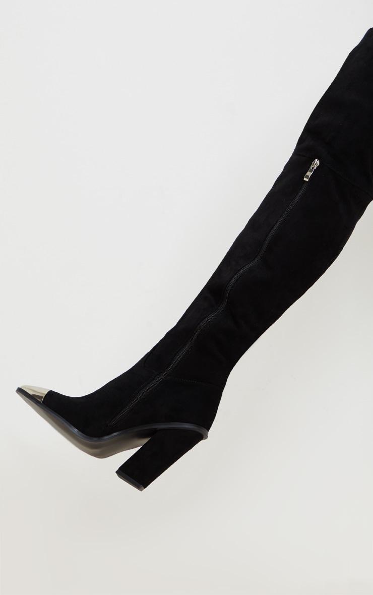 Black Metal Toe Thigh Boot 4