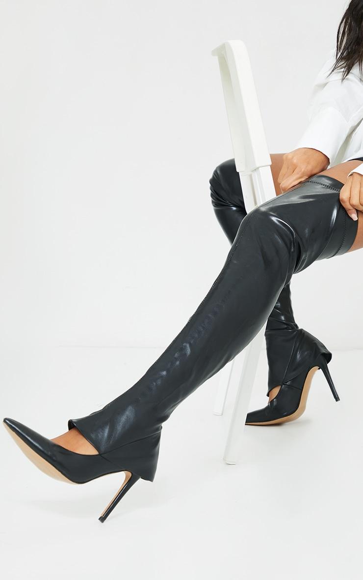 Black PU Thigh High Court Shoe Boots 1