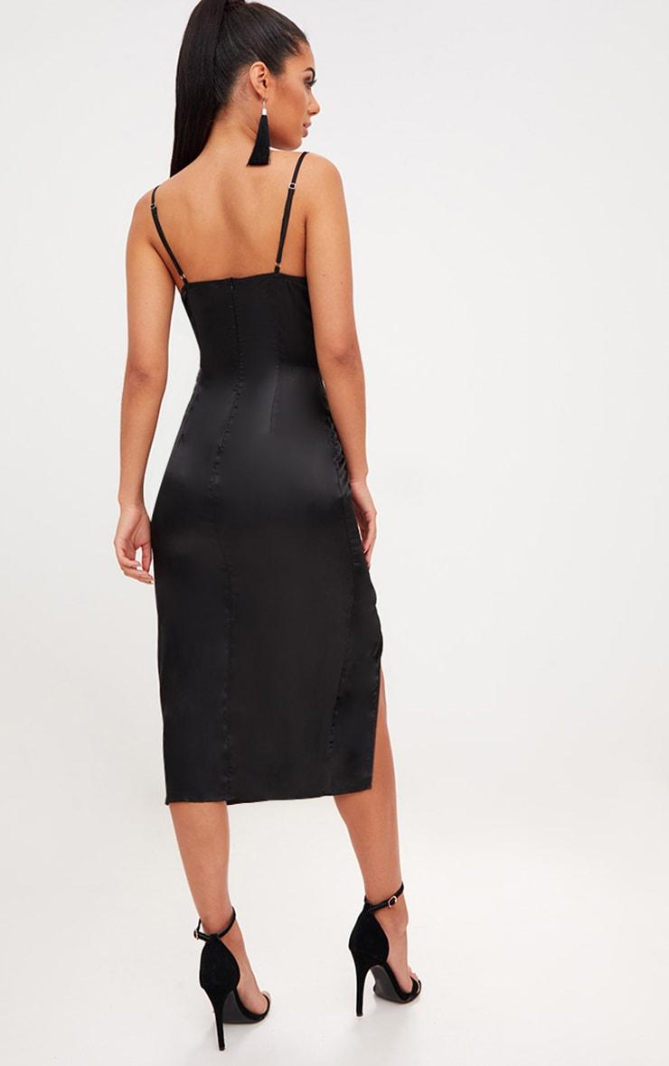 Black Strappy Satin Cowl Neck Midi Dress 2