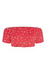47e62236d0b Tall Red Floral Print Bardot Flare Sleeve Crop Top | PrettyLittleThing
