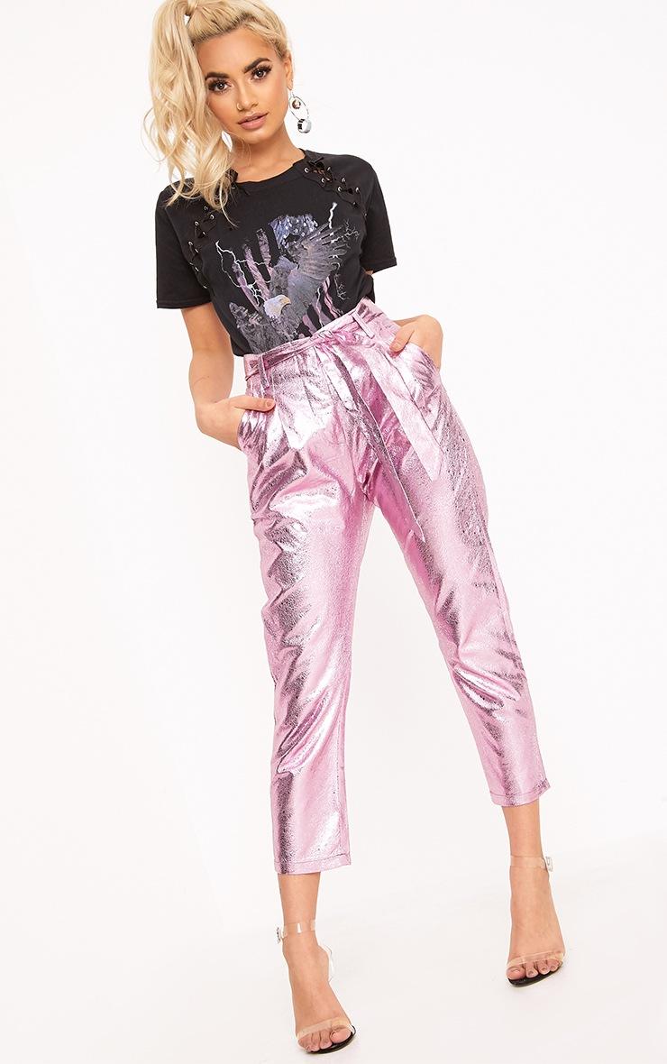 Leanne Pink Tie Waist Crack Vinyl Crop Trousers  1