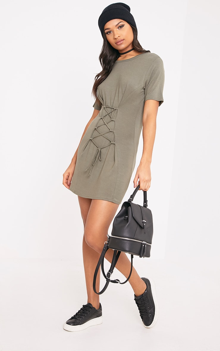 Benayah Khaki Jersey Corset Detail T Shirt Dress 3