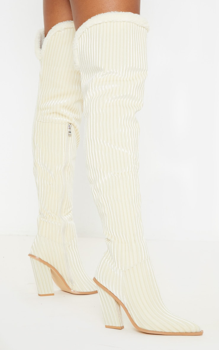 Cream Cord Borg Cuff Thigh High Boot 1